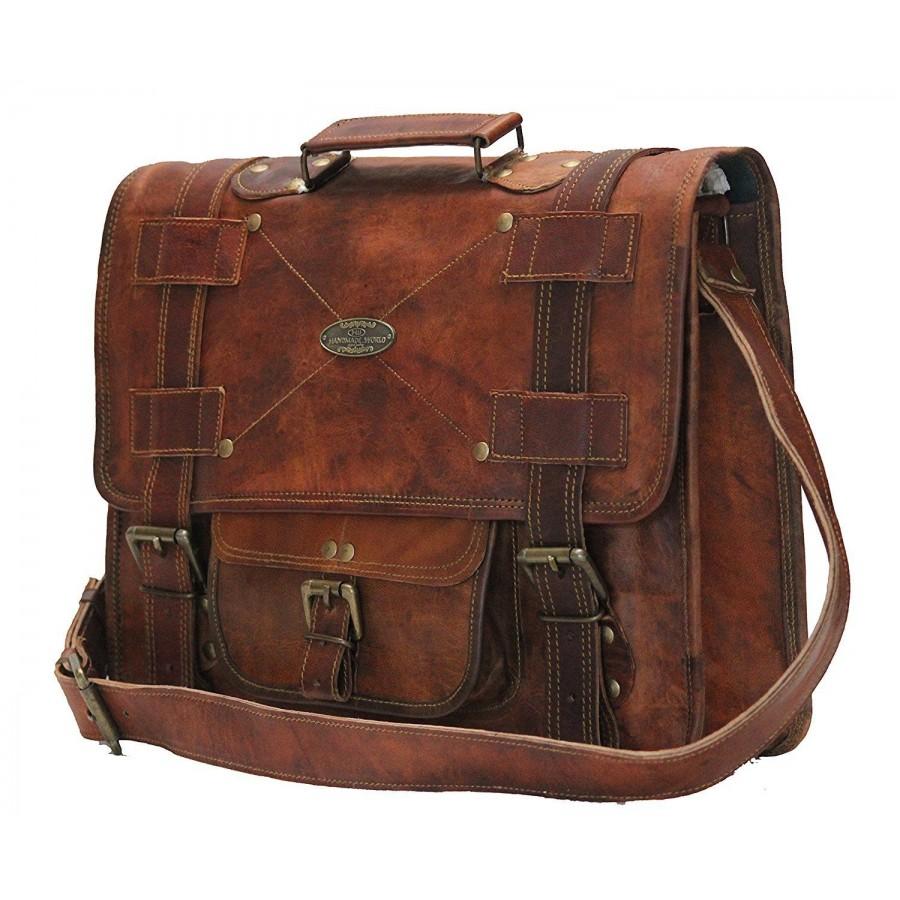 """RAZUSTRA™ Skórzana aktówka, teczka, torba na ramię. Skóra naturalna. 15"""""""