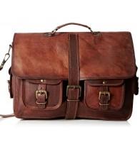 """SHANKARA™ Skórzana aktówka, teczka, torba na ramię. Skóra naturalna. 16"""""""