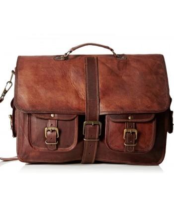 """SHANKARA™ Skórzana aktówka, teczka, torba na ramię. Skóra naturalna. 15"""""""