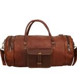 "7. Cylindryczna torba podróżna 'Vintage Traveler SAHARA' skóra naturalna, vintage 24""- 30"""