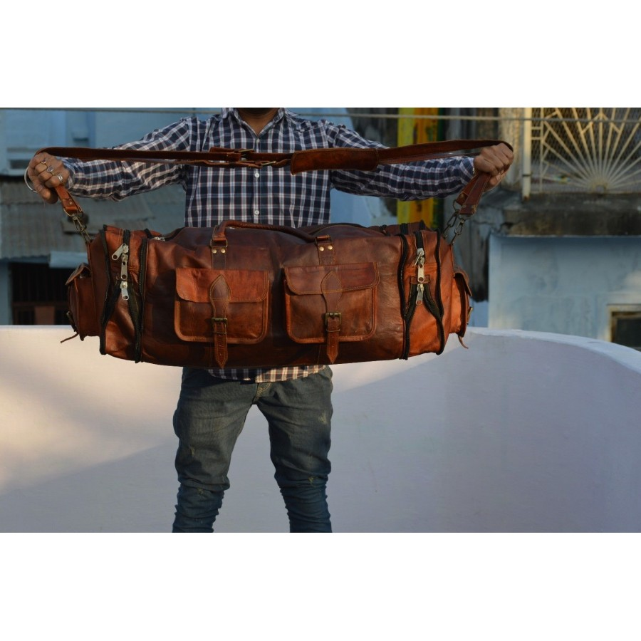 """8. Duża rozkładana torba podróżna 'Vintage Traveler Compass"""" skóra naturalna, vintage XL rozmiar 30"""""""