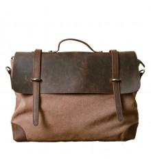 TA2 Teczka Casual Messenger Vintage I, płótno bawełniane-skóra naturalna - brązowa