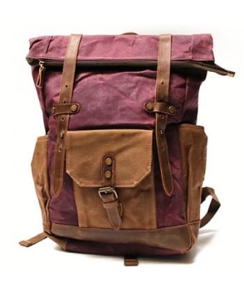 K1 Plecak bawełniano-skórzany WAX CANVAS. Unisex - czerwony