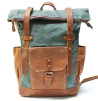 K1 Plecak bawełniano-skórzany WAX CANVAS. Unisex - zielony