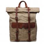 K2 Plecak bawełniano-skórzany WAX CANVAS VINTAGE. Unisex - jasne khaki