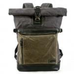 """P1 Rolowany plecak vintage z woskowanej bawełny i skóry. 2 kolory. Laptop 17"""""""