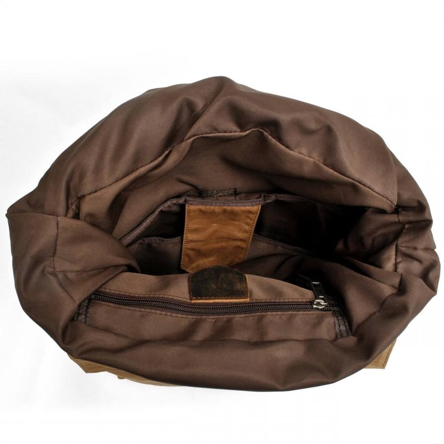 K3 Plecak bawełniano-skórzany WAX CANVAS II. Unisex - ciemnoszary