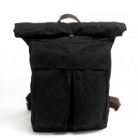 K3 Plecak bawełniano-skórzany WAX CANVAS II. Unisex - czarny