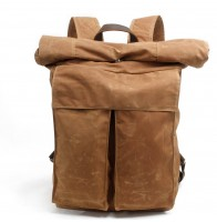 K3 Plecak bawełniano-skórzany WAX CANVAS II. Unisex - khaki