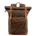 K4 Plecak bawełniano-skórzany WAX CANVAS III. Unisex - brązowy