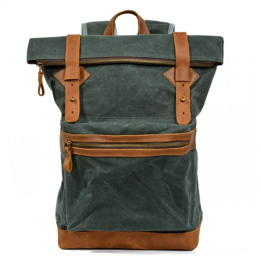K4 Plecak bawełniano-skórzany WAX CANVAS III. Unisex - zielony