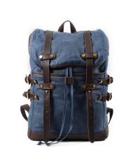 K5 Plecak bawełniano-skórzany WAX CANVAS V. Unisex - niebieski