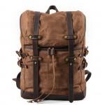 K5 Plecak bawełniano-skórzany WAX CANVAS V. Unisex - brąz