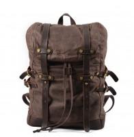 K5 Plecak bawełniano-skórzany WAX CANVAS V. Unisex - ciemny brąz