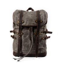 K5 Plecak bawełniano-skórzany WAX CANVAS V. Unisex - błotnisty