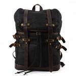 K5 Plecak bawełniano-skórzany WAX CANVAS V. Unisex - czarny