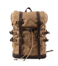 K5 Plecak bawełniano-skórzany WAX CANVAS V. Unisex - khaki