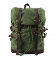 K5 Plecak bawełniano-skórzany WAX CANVAS V. Unisex - zielony