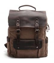 "P14 Plecak płocienny z naturalnąj skórą, damski męski. 4 kolory. Laptop 15"""