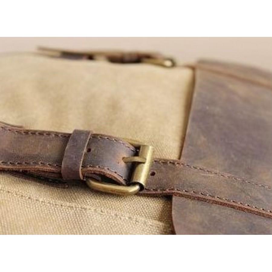 "P15 Miejski plecak płocienny z naturalnąj skórą, damski męski. 4 kolory. Laptop 16"""