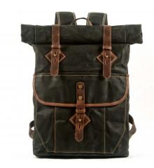 P2 Rolowany plecak unisex miejski z woskowanej bawełny i skóry. 5 kolorów