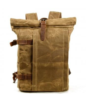 P3 Stylowy plecak miejski rolowany unisex z woskowanej bawełny i skóry. 3 kolory
