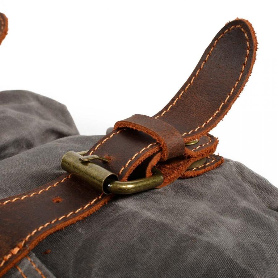 """P4 Duży plecak męski z woskowanej bawełny i skóry. 2 kolory. Laptop 17"""""""