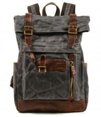 "P5 Duży plecak vintage z woskowanej bawełny i skóry. 2 kolory. Laptop 17"""
