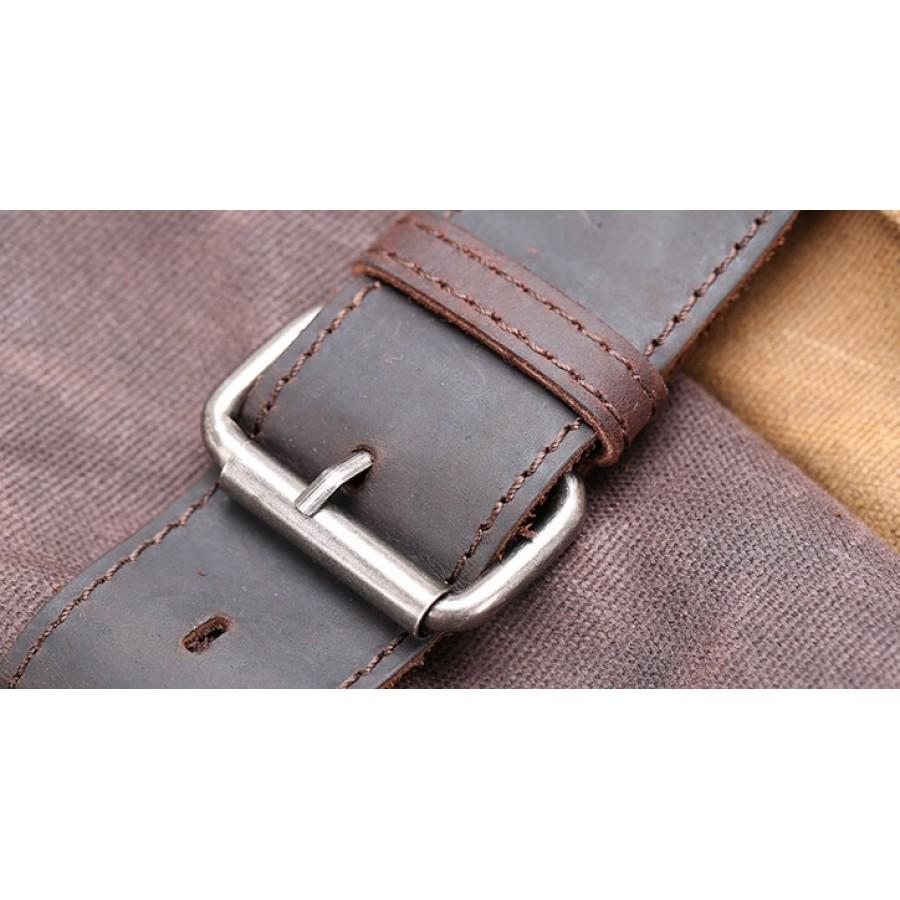 """P8 Uniwersalny plecak - torba na ramię z grubej woskowanej bawełny i skóry. 4 kolory. Laptop 17"""""""