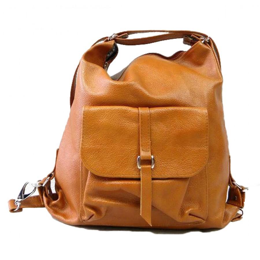 Torebka - plecak  'ALHAMBRA' 2w1, A4, skóra nat, rudy cam.