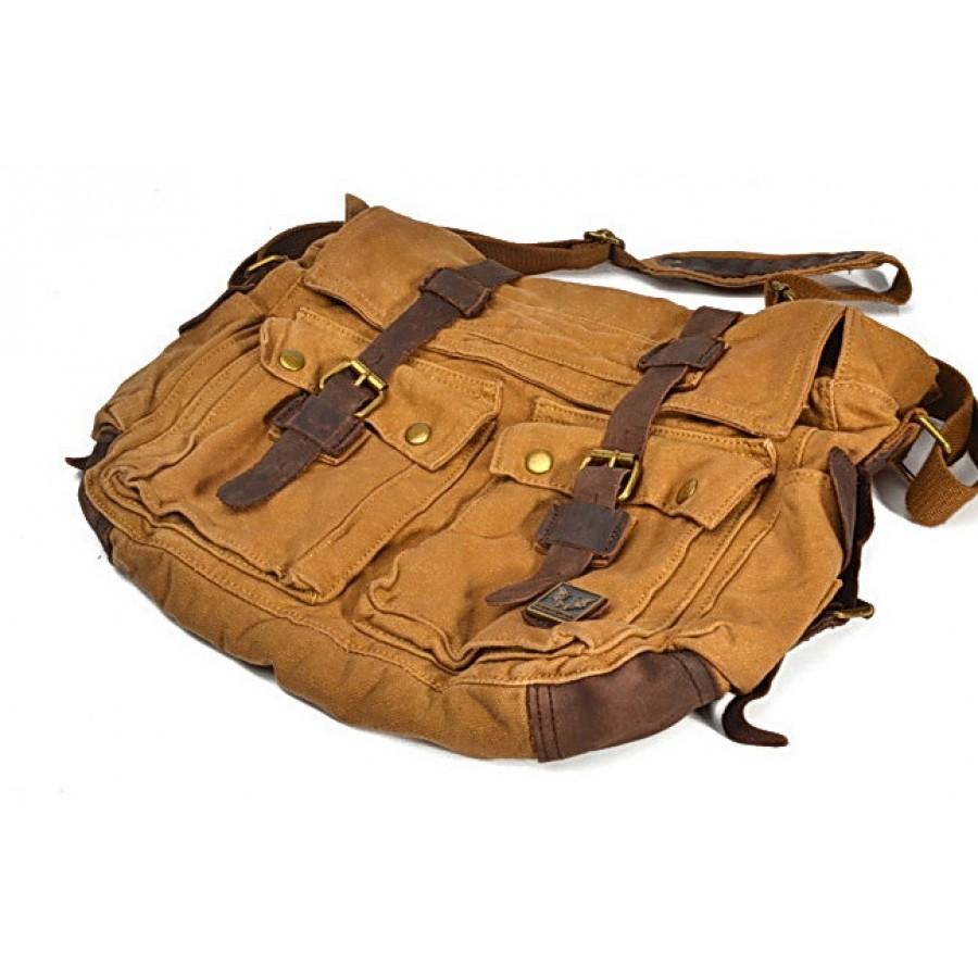 Torba Reporter Traveller, płótno-skóra (khaki żółte)