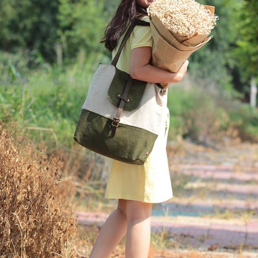 Torba na ramię 'LENA', płótno bawełniane - zieleń
