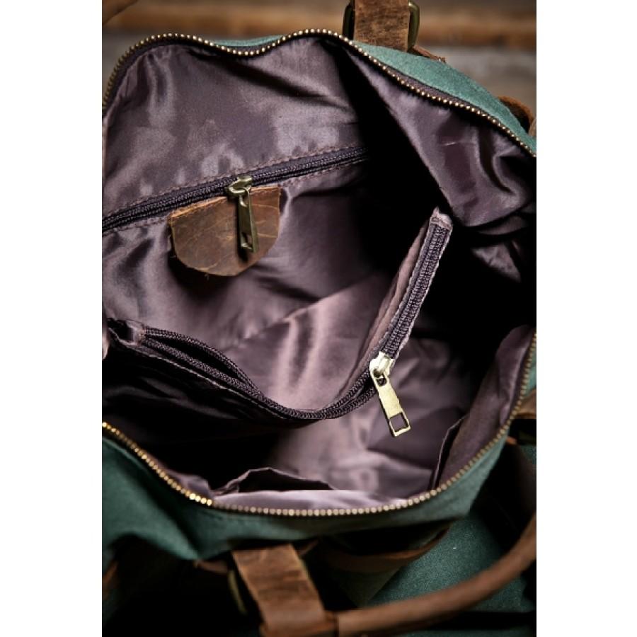 Torba Vamp Vintage 5, podróżna, płótno-skóra, XL - zielona