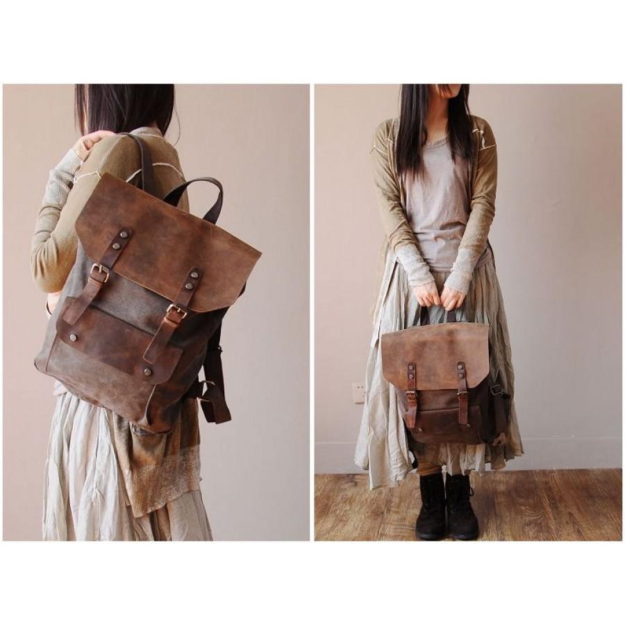7538d10b275ac Plecak VINTAGE™ bawełna + skóra naturalna