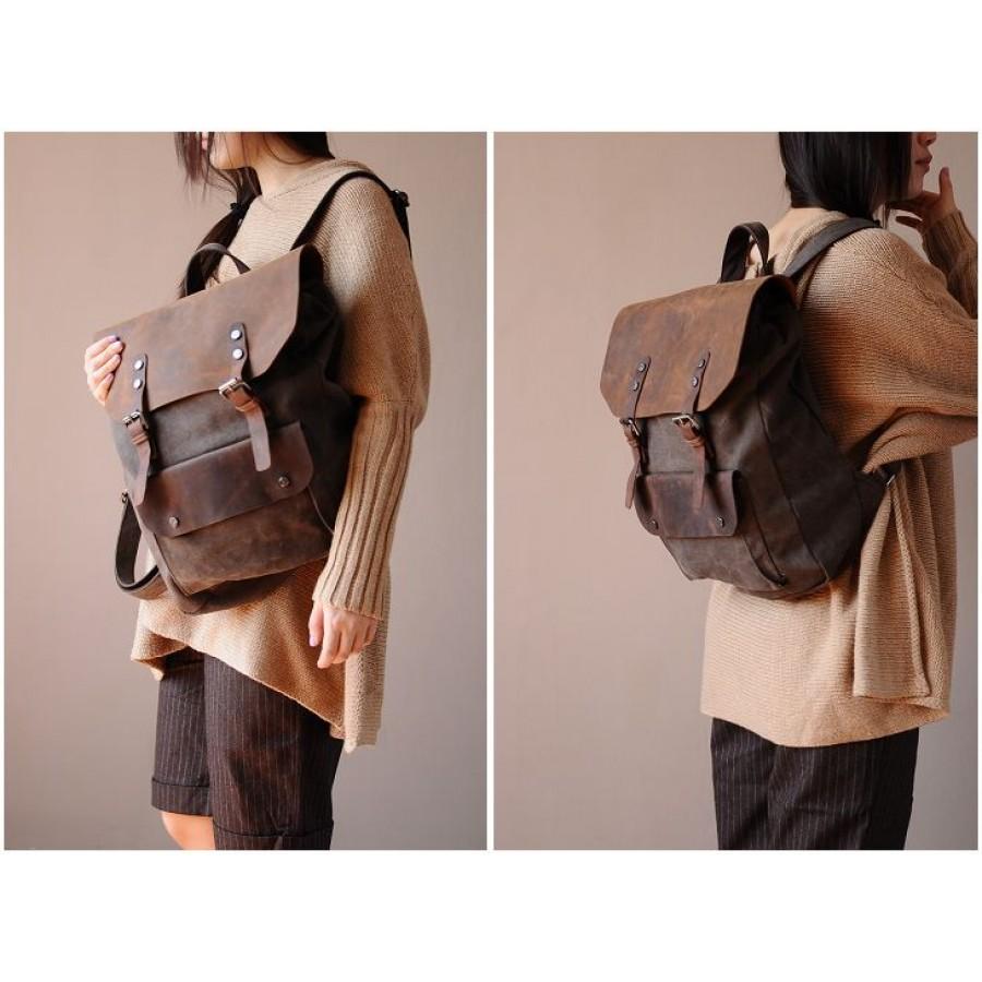 dd7863bb61088 Plecak VINTAGE™ bawełna + skóra naturalna