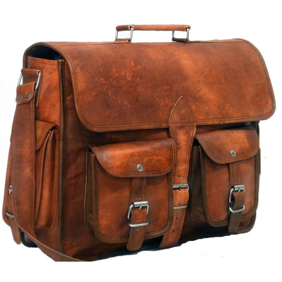 ced9777524d03f KHARE VINTAGE™ Skórzana aktówka, teczka, torba na ramię. Skóra naturalna