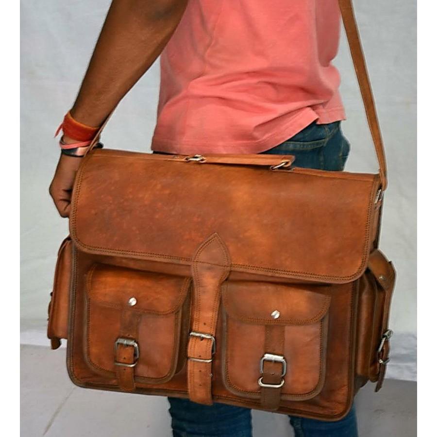 75972c3f266df KHARE VINTAGE™ Skórzana aktówka, teczka, torba na ramię. Skóra naturalna