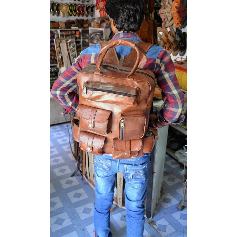 Torba podróżna 'Vintage Lanuti', plecak skóra kożlęca L
