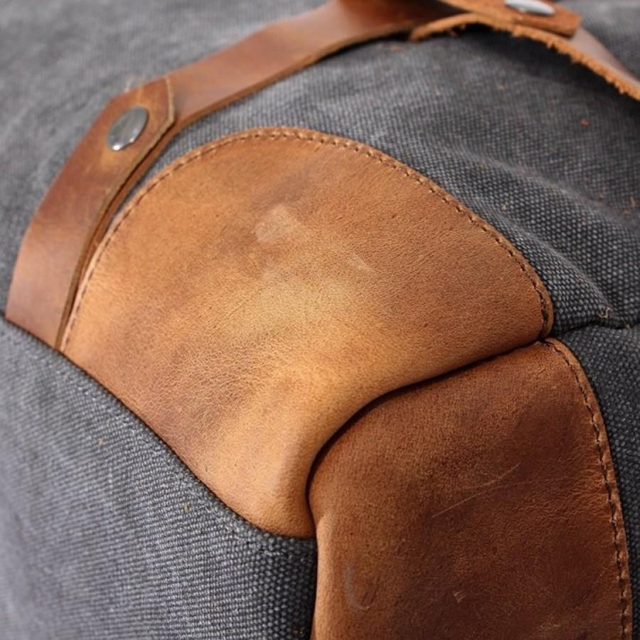02. HIPSTER Torba miejska na ramię duffle, bawełna - skóra