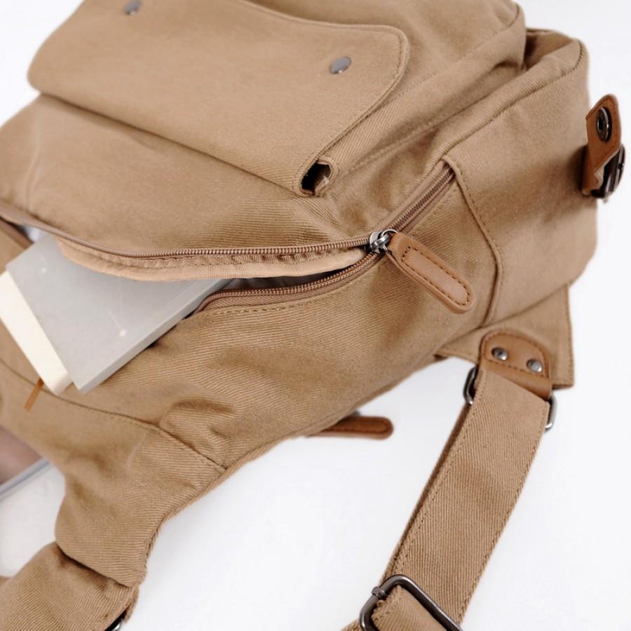 Torba na ramię / plecak, 'Zikko'  płótno-skóra, unisex