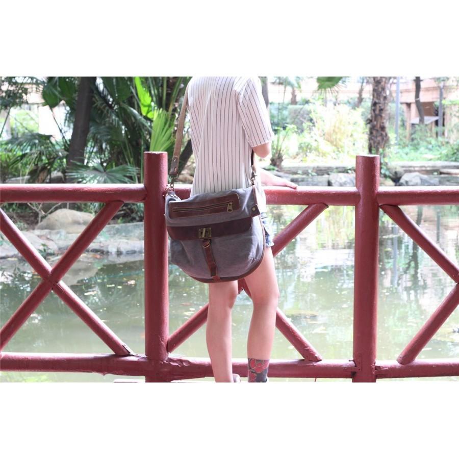 01. MEZZO VINTAGE™ Torba miejska na ramię bawełna - skóra naturalna