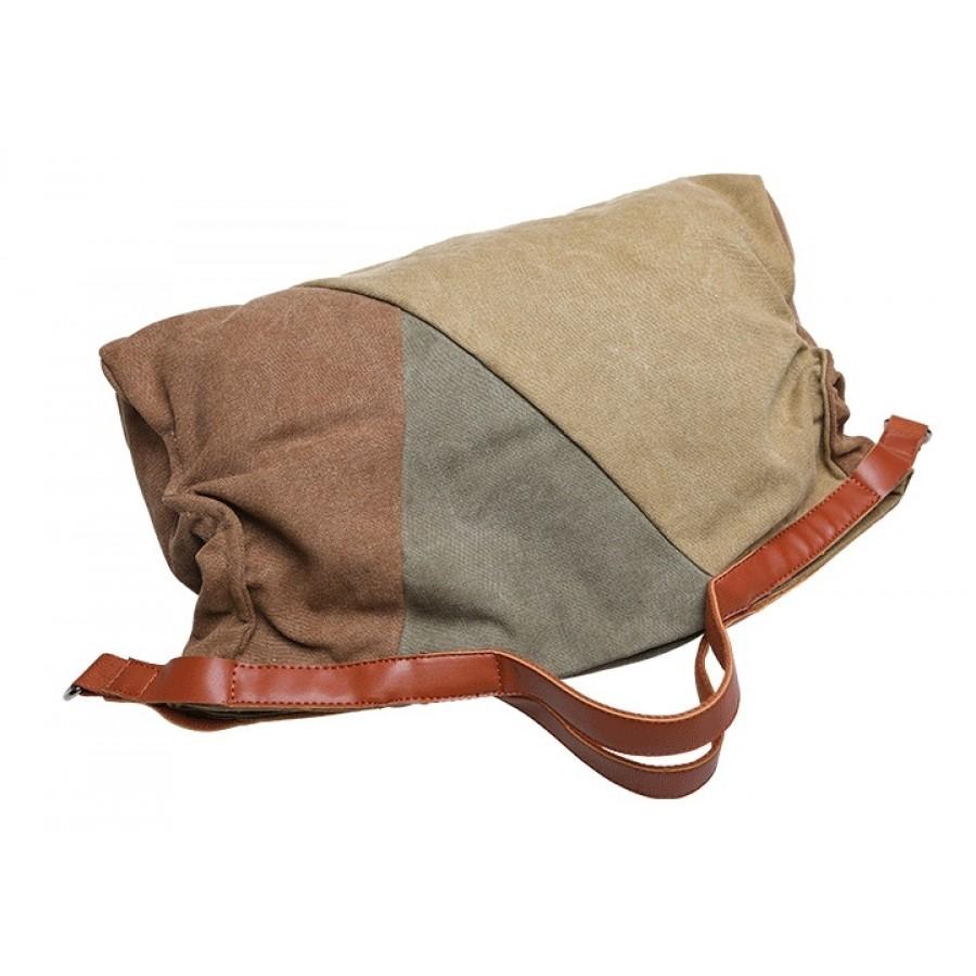 09.Torba na ramię 'Nashira 3 Patchwork' bawełna - skóra (khaki)